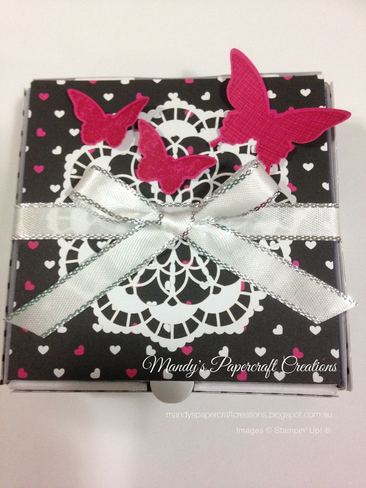 Mini Pizza Box In Pink, Black & White with Butterflies