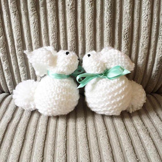 White knitted bunnies wool bunnies baby keepsake premature