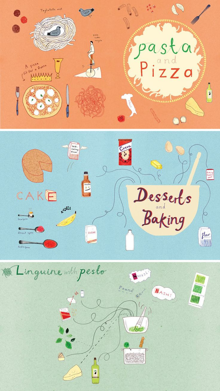 Food illustrations for 'The Silver Spoon for children' by Harriet Russell