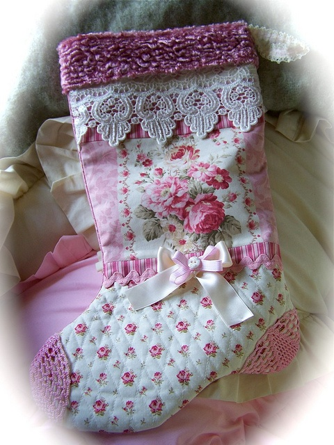 Pink cottage roses christmas stocking by Created by Cath., via Flickr