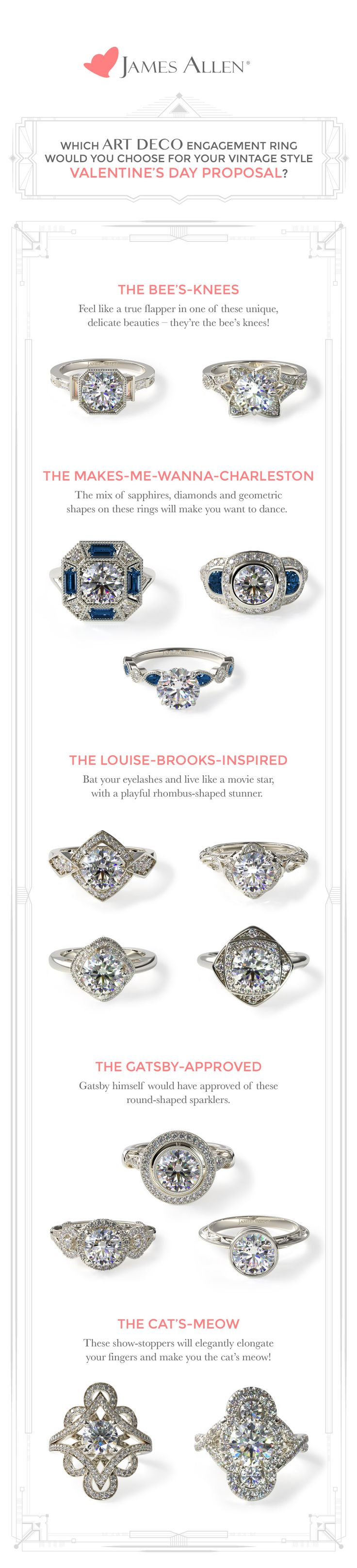 Which Jazz-Age inspired diamond engagement ring would you choose for your vintage style proposal this February 14th? Check out all the art deco rings in 360° on JamesAllen.com !  #jamesallenrings