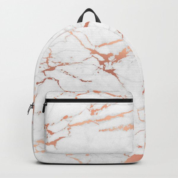 White rose-gold marble Backpack (6880 RSD) ❤ liked on Polyvore featuring  bags f93905e34c792