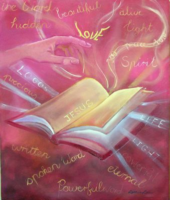 Prophetic Art painting - Gallery, pink Bible with words of love and encouragement.