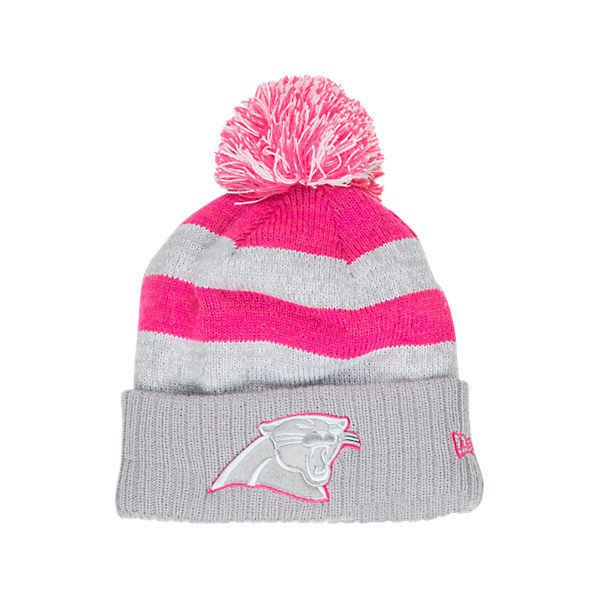 New Era Women's Carolina Panthers NFL 2016 Breast Cancer Awareness... ($24) ❤ liked on Polyvore featuring accessories, hats, sports knit hats, sport hats, new era hats, sports hats and ribbon hat