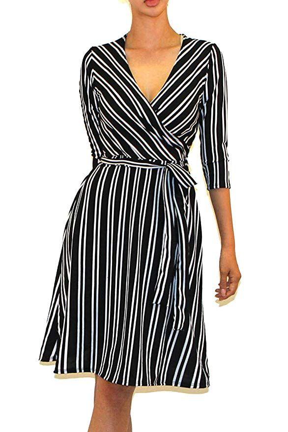 b6d8d909dfe Vivicastle Women s Printed V-Neck 3 4 Sleeve Faux Wrap Waist Tie Midi Dress