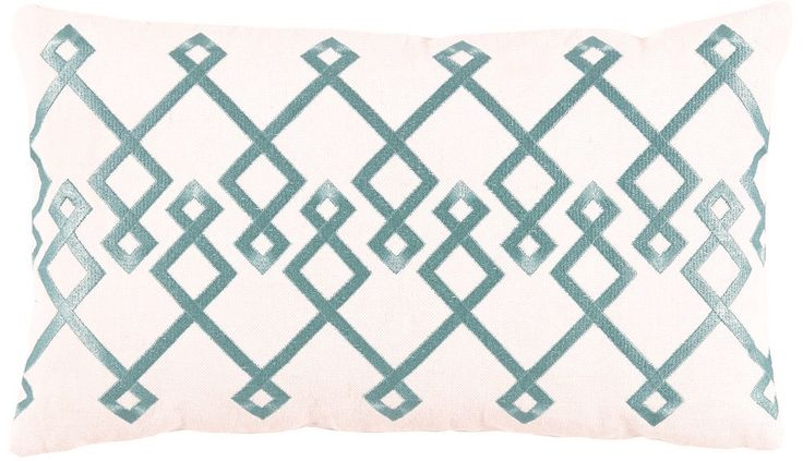 Chevron Mineral Embroidery Lumbar on Natural Pillow