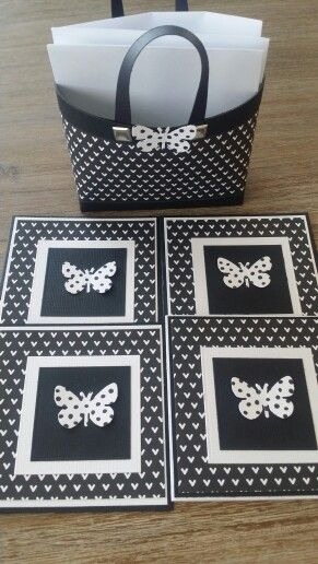 Butterfly card gift set in black and white.