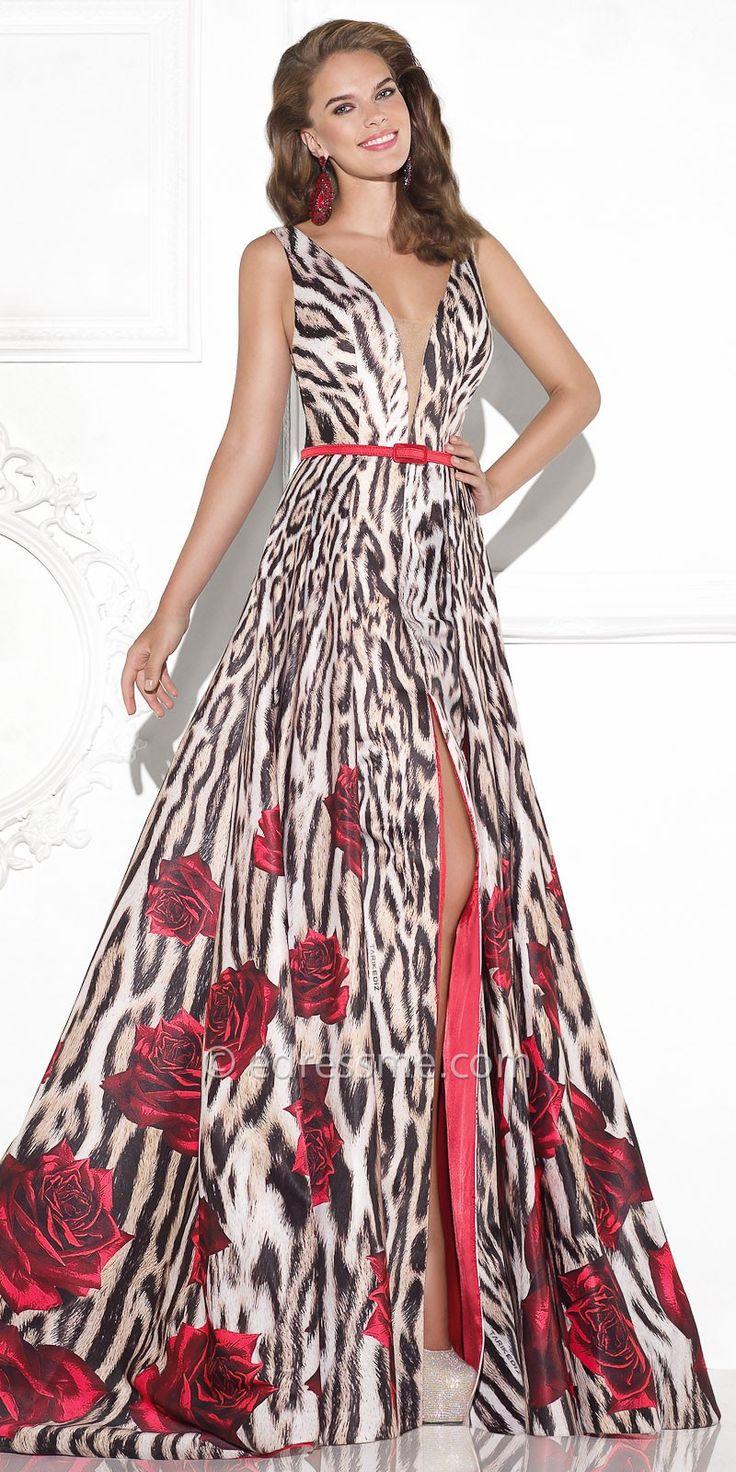 Lecea Rose and Animal Print Evening Dress by Tarik Ediz