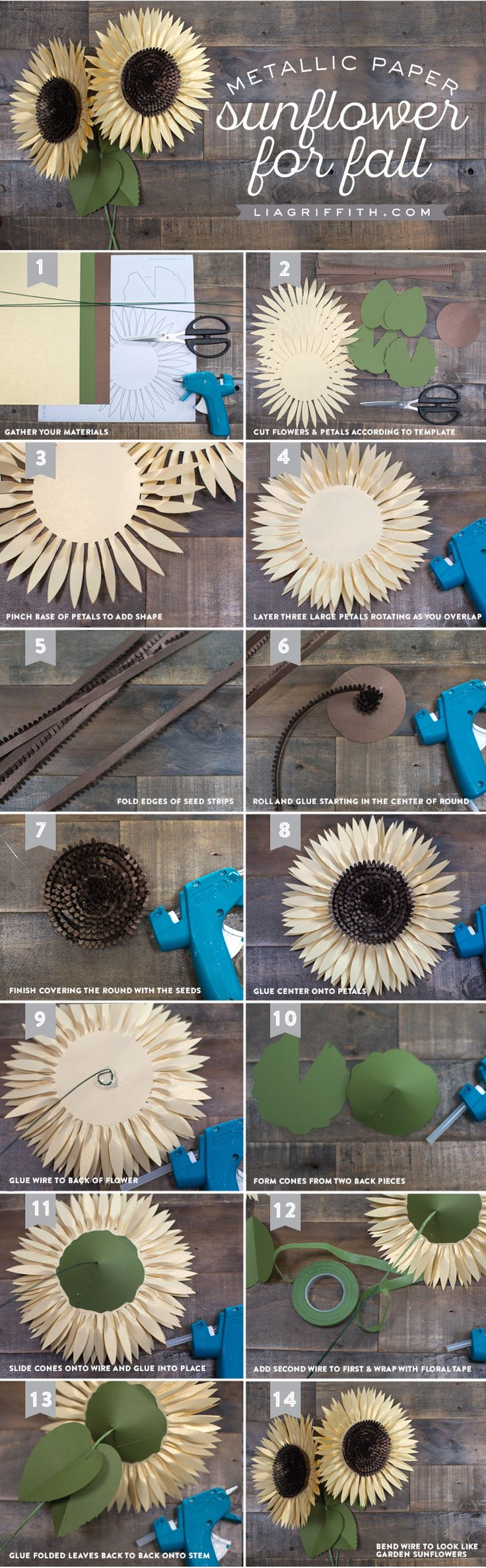 Make your own striking paper sunflower with this downloadable pattern and step-by-step tutorial from handcrafted lifestyle expert Lia Griffith.