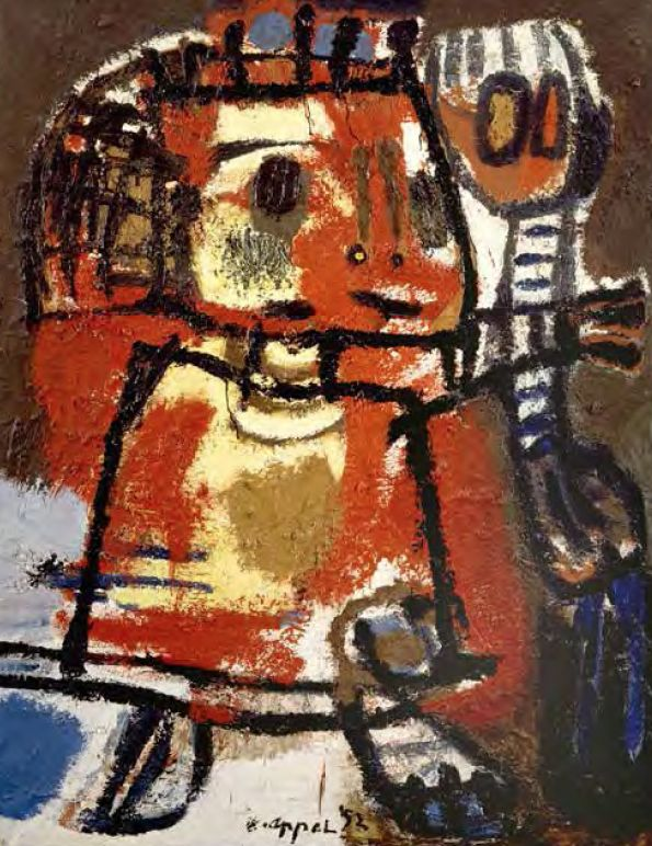 Karel Appel, (1921-2006), In de periode aan de academie ontmoette Appel Corneille. Iets later maakte hij kennis met Constant. Er ontstond een intense vriendschap tussen hen die vele jaren zou standhouden. Met Constant maakte Appel na de oorlog reizen naar Luik en Parijs. De twee exposeerden samen. In deze periode vooral beïnvloeden door de kunst van Picasso, Matisse en Jean Dubuffet. Vooral de laatste maakte rauwe werken met andere materialen dan alleen verf.- 1952