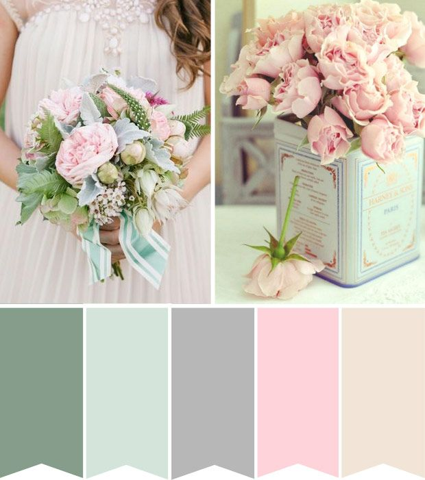 love this pallet site Charley  <3 (Powder Pink and Duck Egg Blue wedding colour palette) | onefabday.com