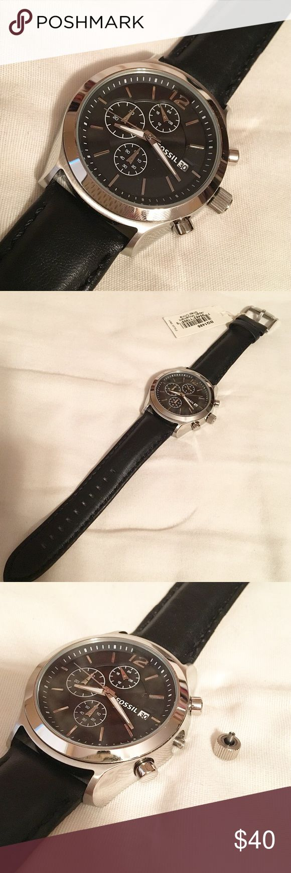 Leather Fossil Watch Mens black genuine leather Fossil watch with chronograph feature inside the face. Stainless steel hardware. Brand new and never used - tags still attached! Battery works but stem has fallen off (see picture 3). Watch sill works with stem out but can be repaired for $8.50 through Fossil! Authentic. No trades! Fossil Accessories Watches
