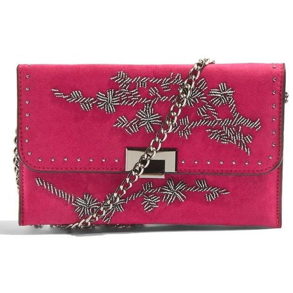 Topshop Casey Flower Beaded Clutch (760 EGP) ❤ liked on Polyvore featuring bags, handbags, clutches, pink, flower print purse, pink clutches, beaded handbags, purple purse and topshop purse