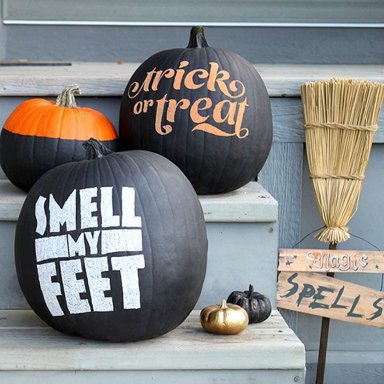 Quotes are a huge trend this year, and the holidays are a fun time to employ the trick: http://www.bhg.com/halloween/outdoor-decorations/outdoor-halloween-decorating-with-pumpkins/?socsrc=bhgpin092814quotableporchpumpkins&page=4