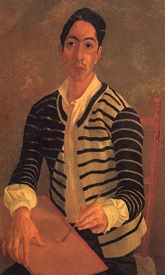 Basaldella, Afro (1912-1976) - 1936 Self-Portrait (Galleria Nazionale d'Arte Moderna e Contemporanea, Rome, Italy)    94 x 59 cm.    Italian painter and stage designer, born in Udine. Full name Afro Balsadella, but is usually known as Afro; brother of the sculptor Mirko Balsadella (Mirko).
