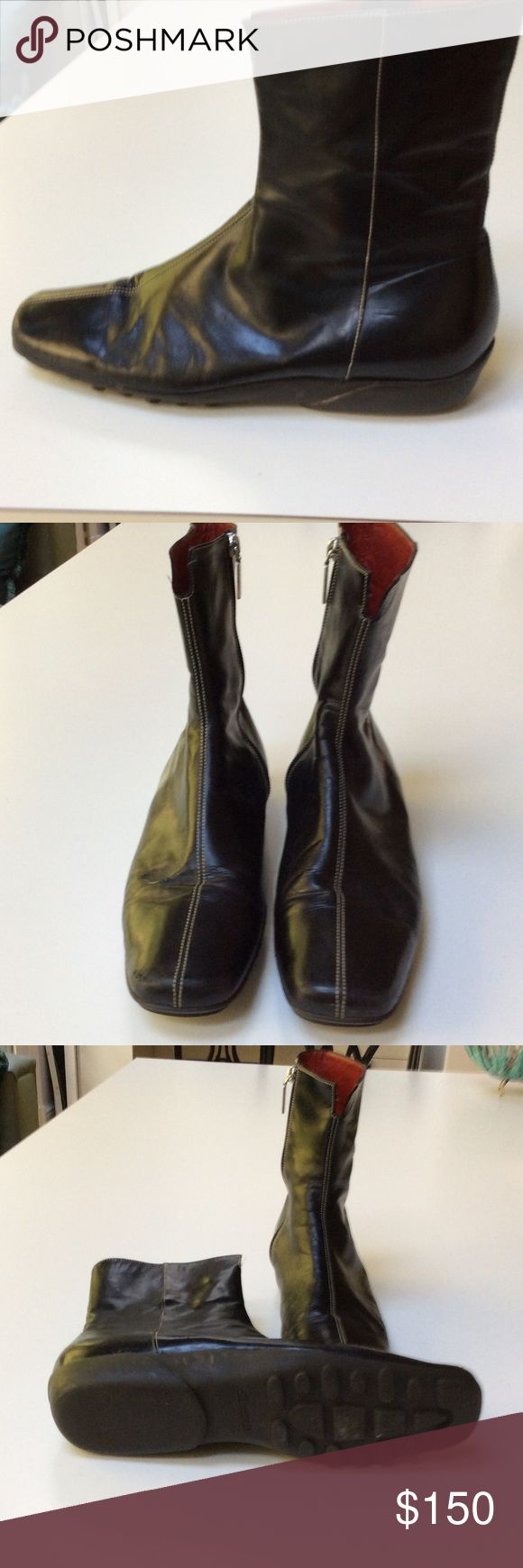 Santoni booties Black leather. White top stitching. Rubber soles. 1in. heel. 8 in. tall Santoni Shoes Ankle Boots & Booties