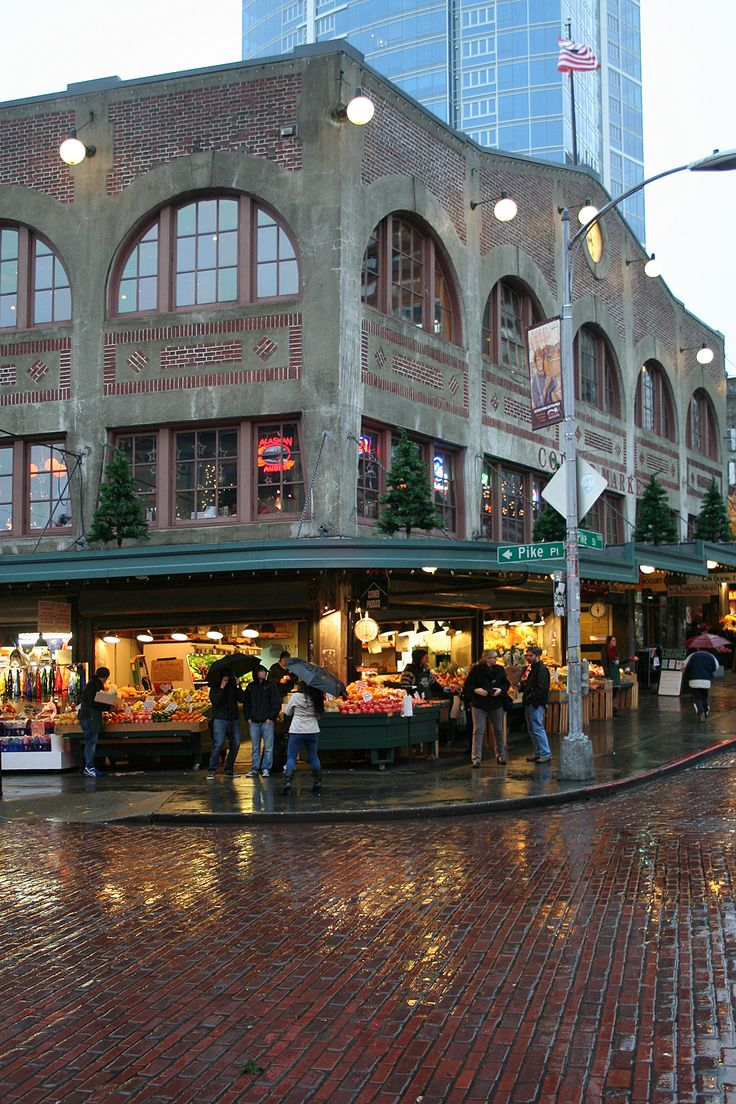 Seattle street scene.just outside the corner of the Pike Place Market - cobblestone roads have been there forever