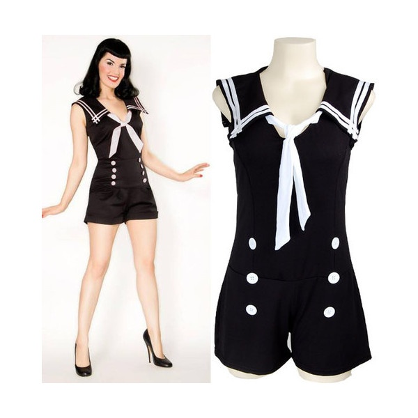 Double Button Sailor Nautical Rockabilly Pin Up Jumpsuit Playsuit Overall S found on Polyvore