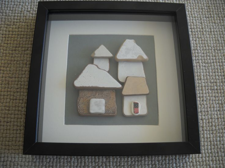 """""""Little houses"""" Pieces of ceramic, sculpted by the sea, join together to create artworks..."""