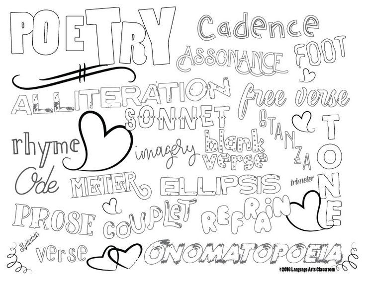 poetry coloring sheet for literary devices