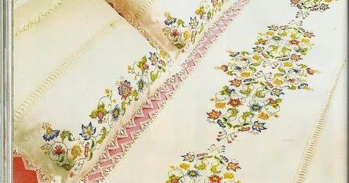 Κεντημένα σεντόνια μιας άλλης εποχής, σχέδια για κεντήματα, Embroidered linen of a bygone era, embroidery projects, Lino bordado de una época pasada, las labores de bordado