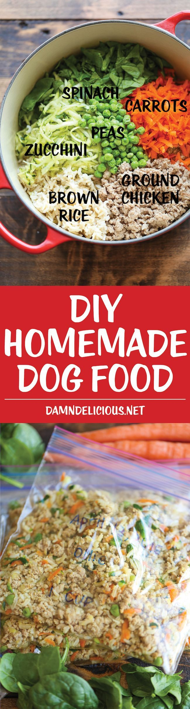 DIY Homemade Dog Food - Keep your dog healthy and fit with this easy peasy homemade recipe - it's cheaper than store-bought and chockfull of fresh veggies! http://www.turmericfordogs.com/blog
