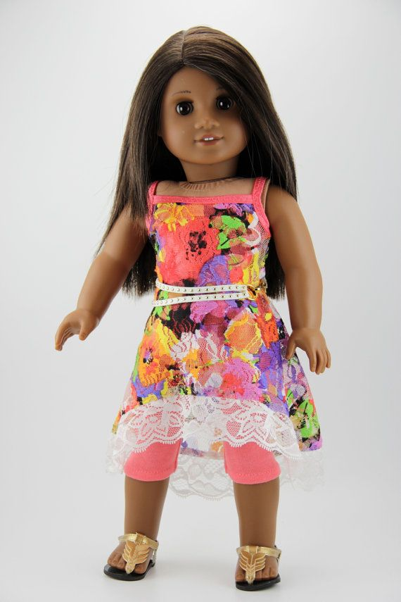 """American Girl doll clothes - High low strappy dress outfit (fits 18"""" doll) (451floral)"""