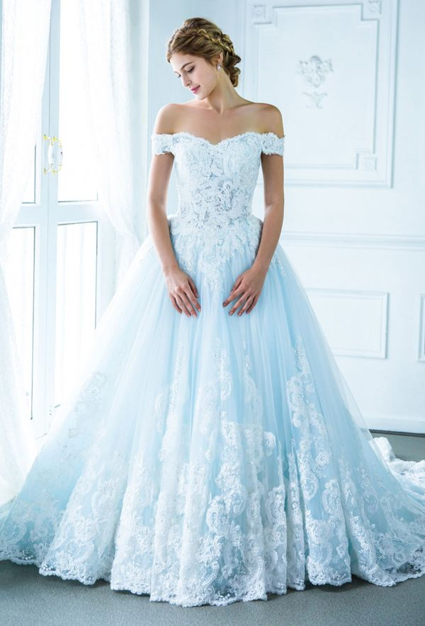 a3a2d4d015d733 This pastel blue off-the-shoulder gown from Digio Bridal featuring delicate  lace detailing is downright droolworthy! » Praise Wedding Community