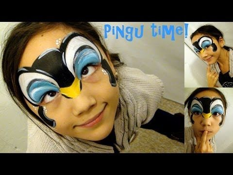 ▶ Cute Penguin mask Face Painting Tutorial with Google Glass view! - YouTube
