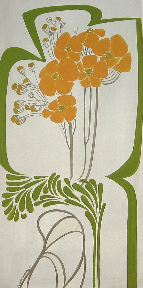 71 best poppies images on pinterest poppies botanical for Art nouveau mural