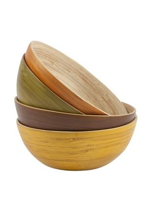 Core Bamboo Set of 4 Greenwich Round Bowls, Small
