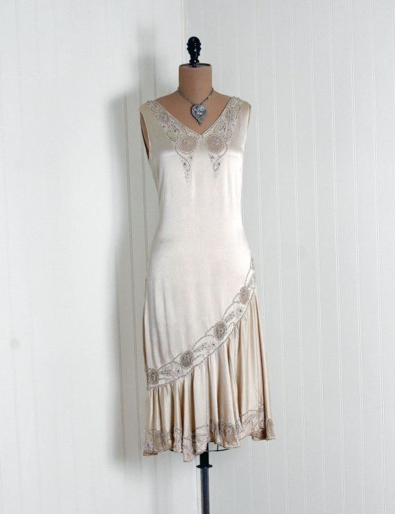 *1920's Elegant Ivory-White Beaded Rhinestone Silk-Chiffon & Satin  *Seductive Low-Plunge Deco Cut-Out Sheer-Appliques Sleeveless Bodice  *Cocktail-Length Draped Asymmetric Drop-Waist Flaired Flapper-Skirt