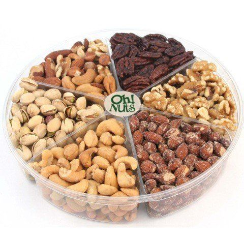 Oh! Nuts Freshly Roasted Holiday Nuts Gift Basket, Nut Gift Tray 6-section Medium Gift Tray ** Find out more details by clicking the image : Gift Ideas