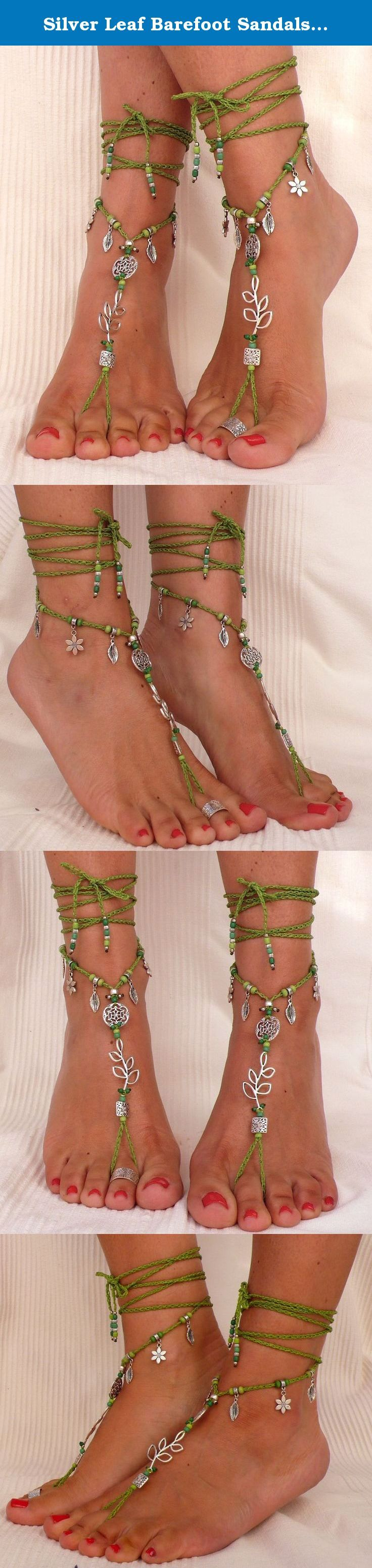 Silver Leaf Barefoot Sandals greenFoot JewelryHippie
