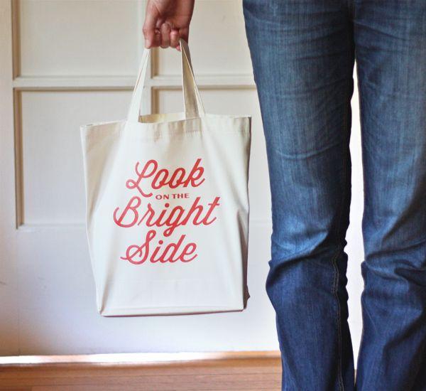 DIY iron-on typographic tote bag