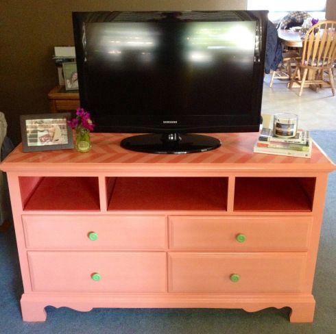 Dresser turned TV stand, herringbone stencil