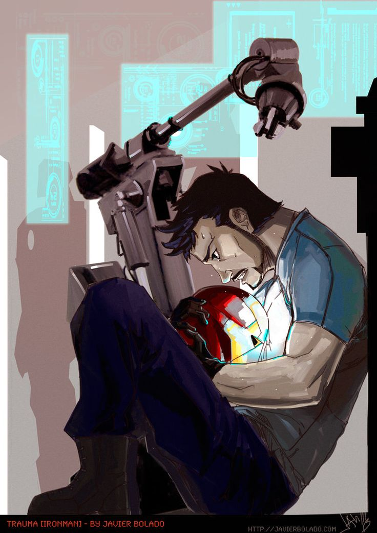 """I was thinking about make a fan art about Avengers or IronMan 3 and *Shaliara gave me this idea: """"Tony Stark having an anxiety attack at the barley while repairing Mark 42"""" Intense and some angst....."""