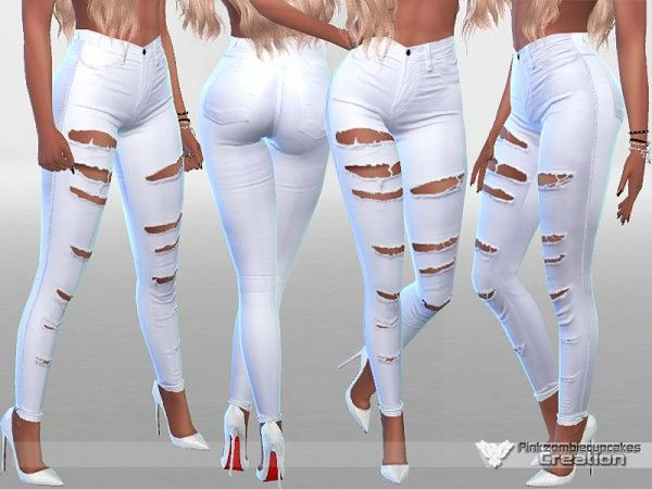 The Sims Resource: White Ripped Summer Jeans by Pinkzombiecupcakes • Sims 4 Downloads
