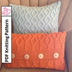 **************** This listing is for a knitting pattern only ******************  Twists and Turns 20x20 and 20x12 cable knit pillow cover knitting pattern  A simple rope cable transforms into a diamond trellis pattern giving a twist to this traditional cable and making for an interesting design on your pillow cover. The pattern is knit as one piece and side seams sewn to finish. The four buttonhole envelope closure allows you to remove the cover for laundering or to change up your room…