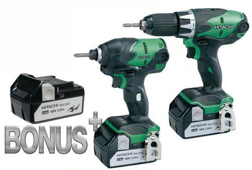 HITACHI 18v Cordless Impact Drill & Driver Combo Kit-3 Batteries