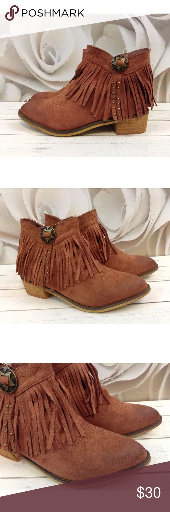 Mi.iM Thea Copper Fringe Ankle Boots / Booties 9 Mi.iM New in box Thea Copper Fringe Ankle Boots / Booties   Thank you for shopping Charlie Birdie's!!  Brand: Mi.iM Style:  Ankle Boots Condition:  New!! Fabric:  Synthetic Materials Size:  9.0 Colors/Patterns:  Copper Brown / Solid Mi.iM Shoes Ankle Boots & Booties
