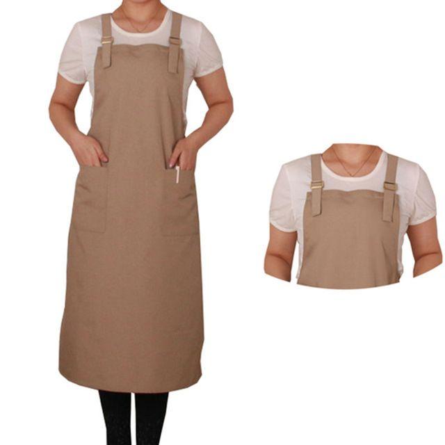 Full Length Black/Brown/Orange Canvas Apron Barber Barista Florist Baker Cafe Bar Bistro Diner Uniform Painter Workwear K55