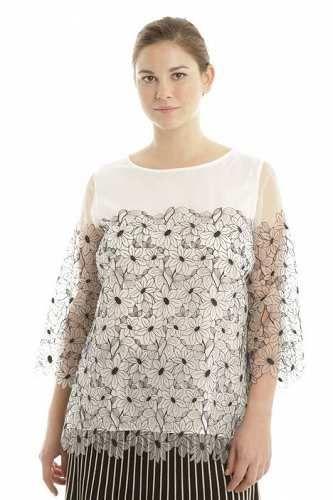 Prezzi e Sconti: #Blusa ricamata a fiori Bianco  ad Euro 98.00 in #Banjo #Abbigliamento camicie e bluse