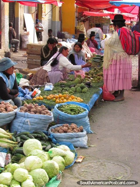 La Paz, Bolivia - selling cabbages, potatoes and beans in the market