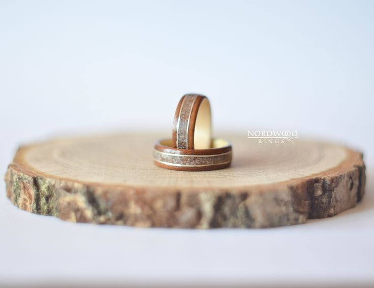 Wedding set. Rosewood santos, maple wood, silver and glass inlay