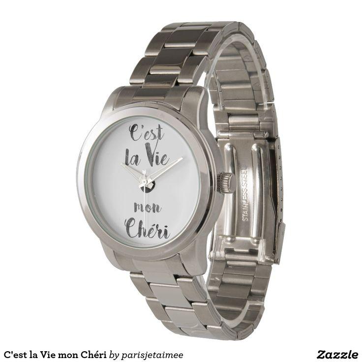 C'est la Vie mon Chéri Wristwatch #french #quote #typography #cestlaviemonchéri #love #chéri #heart #france #frenchtypography #frenchquotes #unique #cute #vintage #retro #words #beautiful