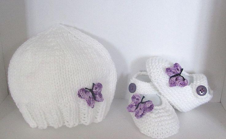 Ensemble Bonnet Chaussons/babies 0/3 mois tricoté main (2) : Mode Bébé par il-suffira-d-un-fil-