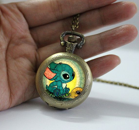 Lilo and Stitch Pocket Watch Locket necklace jewelry,Stitch and Turtle Pendant Locket Necklace watch locket necklace