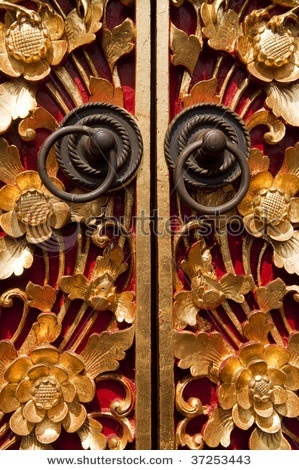 Ornate Entrance Door To Temple In Bali.