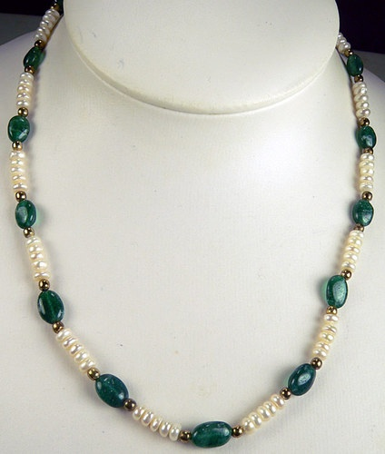 MALACHITE Stone & Cultured Pearls & 14K Gold Plate Necklace Strand.
